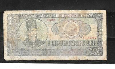 ROMANIA #95a 1966 vg CIRCULATED 25 LEI OLD BANKNOTE  NOTE CURRENCY PAPER MONEY