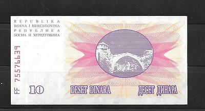 BOSNIA #10a VF CIRCULATED 10 DINARA 1992 OLD BANKNOTE NOTE CURRENCY PAPER MONEY