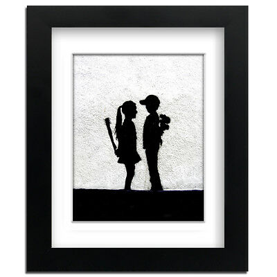 Banksy Boy Meets Girl - Street Art - professionally Framed art print with mount