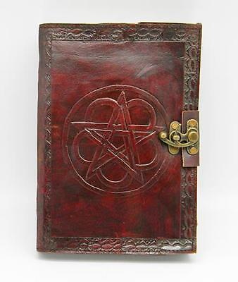 Leather Bound Locking Pentacle Book of Shadows!