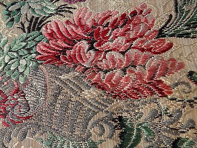 "Antique 19th French Silk Taffeta Brocade HAMOT Lyon Fabric 53""x 49"""