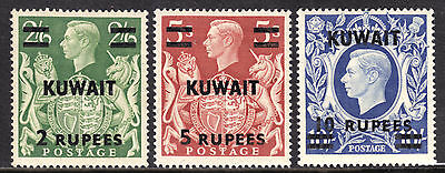 Kuwait #80-81-81A, 1948-49 Surcharged Set/3, Vf, Mint Hinged