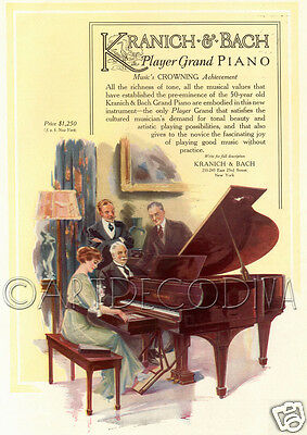Antique 1915 Kranich & Bach Player Grand PIANO Woman Advertising Poster Art Ad
