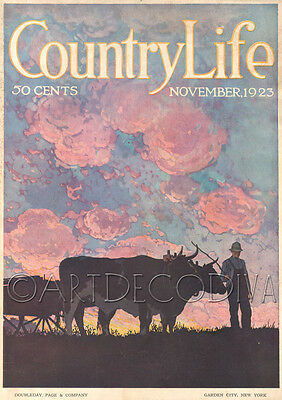 VTG Country Life OXEN TEAM Wagon Farmer SUNSET Early American Painting Art Cover