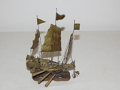 """Vintage 5"""" Long Wood Brass Metal Chinese Cannon Sailing Ship"""