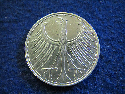 1951 G Germany Silver 5 Mark - Lustrous XF - Free U S Shipping
