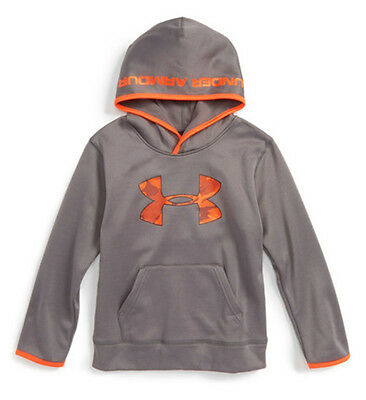 UNDER ARMOUR Boy's BIG LOGO CAMO HOODIE ** GRAPHITE/ORANGE - 4, 5, 6, 7 ** NWT