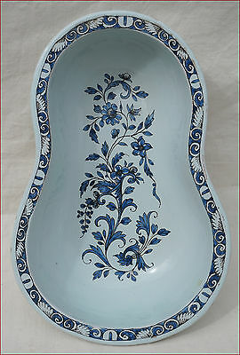 Antique French Blue White Faience Rouen Bidet Baby Bath Toilet Bassin 18th C