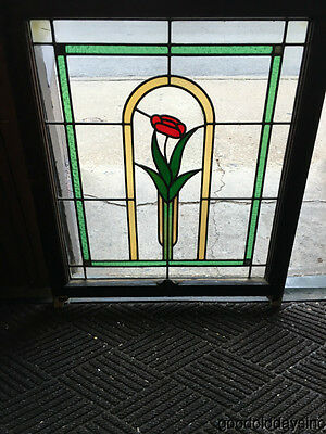 "1 Antique 1920s Chicago Bungalow Stained Leaded Glass Window 33"" by 28"""