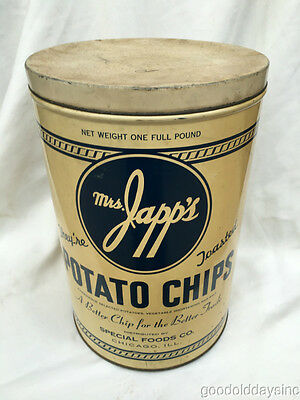 Mrs. Japp's ( Jay's ) Potato Chips Advertising Tin Can Chicago