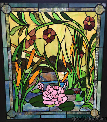 "Beautiful Water Lily & Cattail Stained Glass Window 33"" by 29""  Oak Frame"