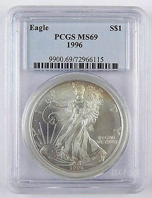 1996 $1 American Silver Eagle ASE Dollar PCGS MS69 Uncirculated Coin A2337