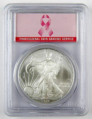 2010 $1 American Silver Eagle ASE Dollar PCGS MS69 Breast Cancer UNC Coin A2339