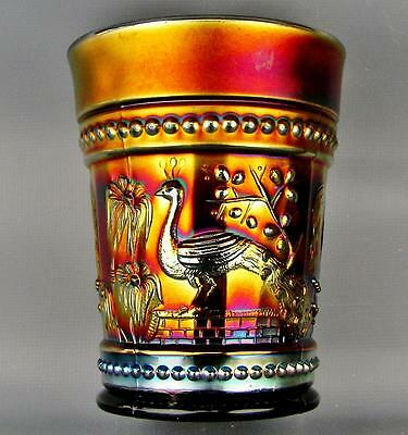 CARNIVAL GLASS - NORTHWOOD PEACOCK at the FOUNTAIN Amethyst Tumbler 3646