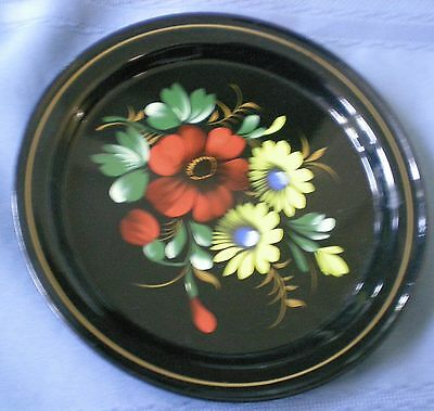 Russian Black Lacquered Metal Tolewary Round Tray Red Yelow Flowers Floral