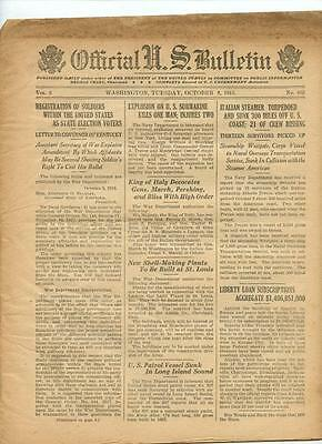 WWI Official US Bulletin Daily Newspaper October 8 1918 Casualty Lists