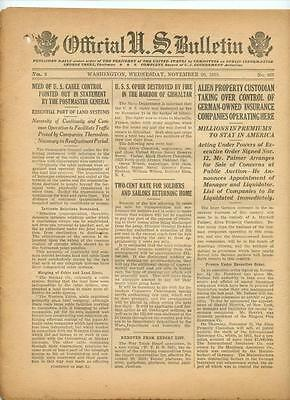 WWI Official US Bulletin Daily Newspaper November 20 1918 Casualty Lists