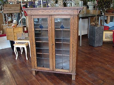 Arts and Crafts Leaded Glazed Oak Bookcase Colored Glass Plank Southampton