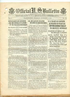 WWI Official US Bulletin Daily Newspaper October 1 1918 Casualty Lists