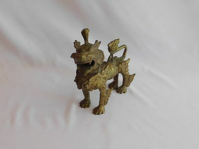 "Vintage Brass Chinese Foo Dog 10"" Tall"