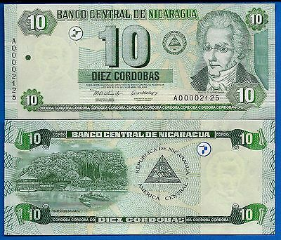 Nicaragua P-191 10 Cordobas Year 2002 Uncirculated Banknote FREE SHIPPING
