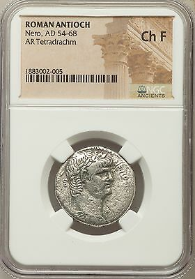 Roman Antioch Nero AD 54-68 AR Tetradrachm NGC Ancients Ch F