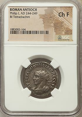 Roman Antioch Philip I AD 244-249 Bl Tetradrachm NGC Ancients Ch F