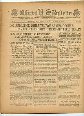 WWI Official US Bulletin Daily Newspaper October 9 1918 Casualty Lists