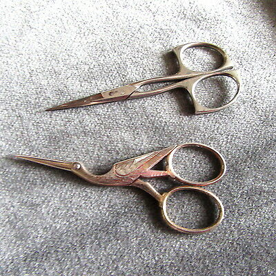 WADSWORTH GERMANY Antique Silver Stork +BOYE LOT SEWING SCISSORS LACE EMBROIDERY