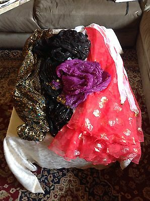 2 Belly dance pants black gold  elastic waist S/M -skirt and two scarfs
