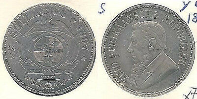 1897 South Africa 2&1/2 Shillings Silver Coin in Extra Fine Condition ~