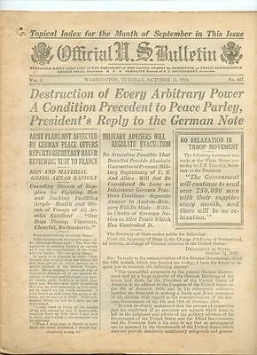 WWI Official US Bulletin Daily Newspaper October 15 1918 Casualty Lists