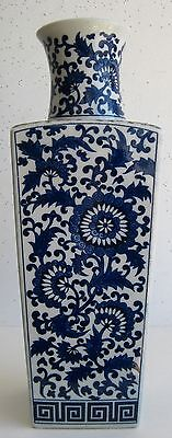 Fine Old Chinese Blue & White Porcelain Flower Blossoms Decorated Vase