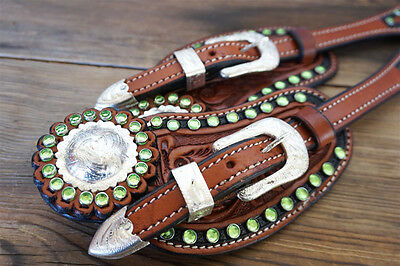 Handmade Adult Size Western Green Show Usa Cowhide Leather Spur Straps Horse