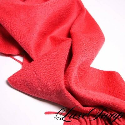 LUXURIOUS Alashan 100% Cashmere Coral PLUSH Flannel Fringed Scarf Muffler NR WOW