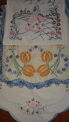 Vintage Linen Hand Embroidered Dresser Scarves Table Runners Lot Of 46 NICE