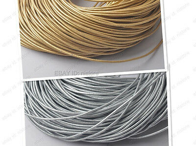 1MM 1.5MM 2MM 3MM gold/silver Genuine round Leather cord Cowhide Thread FREE