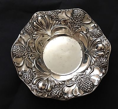 Gorham Sterling Silver Berry Bowl Thistle Poppy Repousse