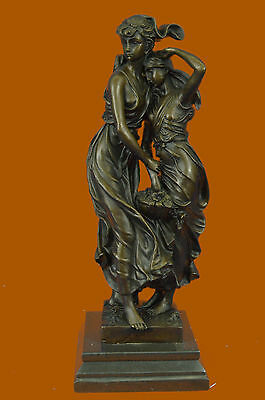 Hand Made Two Sisters Bronze Sculpture Classic Artwork by Moreau Figurine Figure
