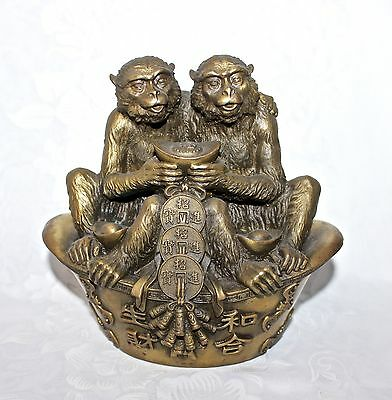 """Estate Chinese Bronze Monkey Treasure Lucky Bowl Yuanbao Coin Fengshui Statue 7"""""""