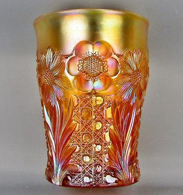 CARNIVAL GLASS - US GLASS COSMOS & CANE Honey Amber Tumbler 3657