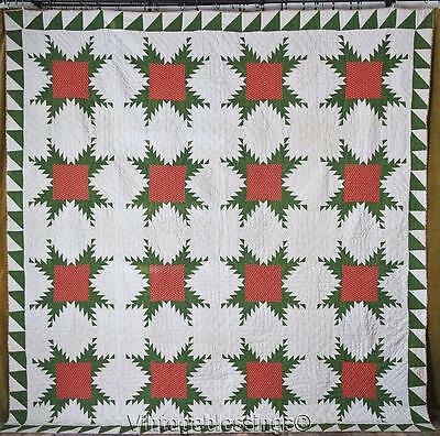 Civil War MUSSER FAMILY PA Antique Red & Green Feathered Stars QUILT 94x92""