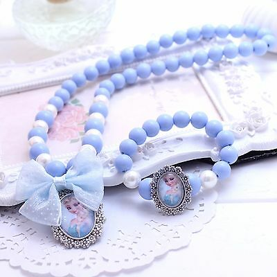 Girl Kids Children Blue Frozen Bead Elsa Anna Dress Necklace Bracelet Set Gift
