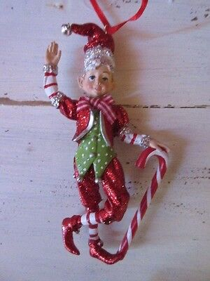 New Adorable Christmas tree Elf ornament holding candy cane Holiday Decor
