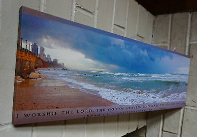 MEDITERRANEAN SEA ISRAEL Scripture Verse Beach Ocean Shore Home Decor Sign NEW