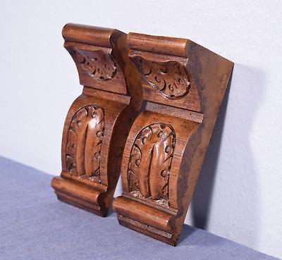 "Pair of 7"" French Antique Corbels/Pillars/Brackets in Walnut Wood"