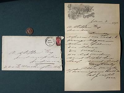 1894 Omaha,Nebraska Hotel Murray Cigar order letter with 1895 postmark envelope!