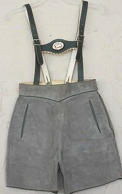 "Gray Suede Lederhosen Short Suspenders Green Leather 26"" waist Child Small Woman"