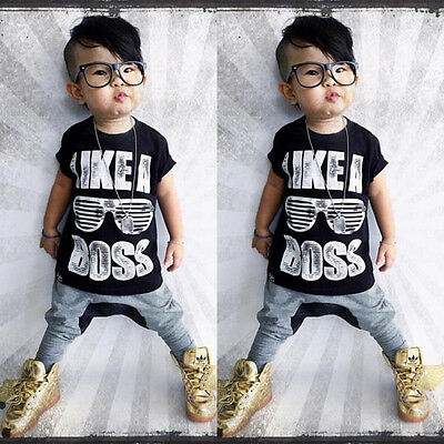 Toddler Kids Baby Boys Clothes Tops T-shirt +Long Pants Trousers 2PCS Outfit Set
