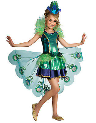Peacock Fairytale Fancy Dress Up Girls Halloween Party Child Costume L